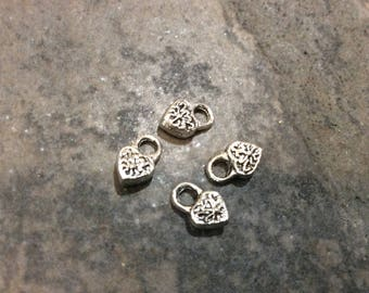 Tiny filigree heart padlock charms Package of 4 charms Great for earrings and Valentines Day jewelry making projects