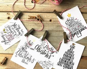 CHRISTMAS GIFT TAGS, Holiday Tags, Christmas wrapping, Calligraphy, Hand Drawn, Handmade Christmas, Hand Lettered, Handmade