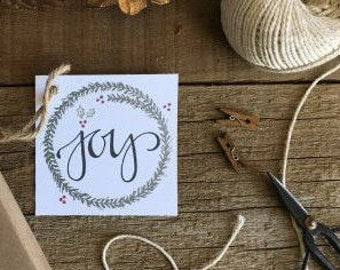 PRINTABLE GIFT TAGS, Joy Christmas, Hand Drawn, Handmade, Hand Lettered, Calligraphy, Digital Download, Instant Download