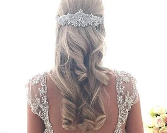 Angel Hairpiece  - Crystal Vintage Wedding Bride Headband Hair Hairband Great Gatsby Vintage Glam Rhinestone Pearls Bridesmaid