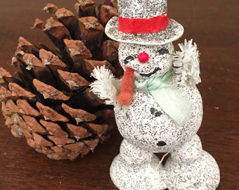 Vintage Japan Snowman, Christmas Decoration Ornament, Frosty the Snowman