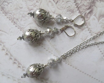 PROM PRINCESS JEWELRY Set Earrings & Pendant Necklace Crystal Antique Silver Lace Filigree Wedding Vintage Jewellery Gift