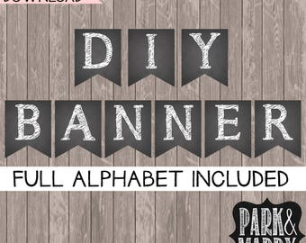 DIY Printable Banner / Bunting Printable / Instant Download Alphabet / Happy Birthday Decor / Congratulations Banner / Party Decorations