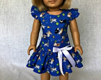 18 inch doll dress - 18 inch doll clothes - blue doll dress -  fits the American Girl, Our Generation, My Life As and other 18 inch dolls.