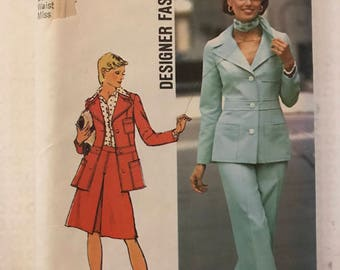 Simplicity 6175 - 1970s Designer Fashion Princess Seamed Button Front Jacket with Shaped Waist, Inverted Pleat Skirt & Pants - Sz 12 Bust 34