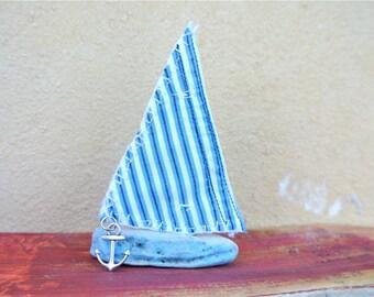 Miniature Sailboat, Driftwood Boat, Driftwood Art, Nautical Decor, Wooden Boat, Coastal Decor, Sailing Ship, Beach Decor, Striped Fabric