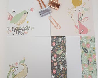Pretty sticky note planners for Mum, Sticky note and To Do List planner set, Cute Wild Berry design stationery peel off sticky notes,