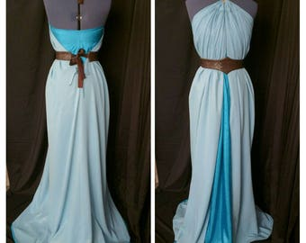 "Daenerys Targaryen or Missandei inspired draped dress with dragon scale ""bronze"" collar and reversible belt, Game of Thrones  cosplay"