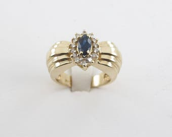 14k Yellow Gold Diamond And Sapphire Ring, 14k Yellow Gold Gemstones Ring