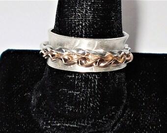 Spinner Ring,  Silver Spinner Ring, Sterling Silver Spinner Ring, Silver and Gold Spinner Ring, Sterling Silver and Gold Spinner Ring