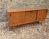 Midcentury 1960s Schreiber teak veneer sideboard mid century sideboard teak furniture sliding doors retro sideboard