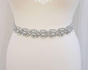 Rhinestone belt, bridal belt, wedding belt, bridal sash, wedding dress belt, sash belt, crystal bridal belt, diamante belt, MARILYN