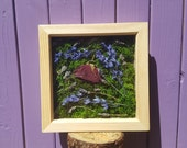 Flower Box Frame Dried Bluebells Rose Wall Decor English Lavender Floral Arrangement Wooden Wall Hanging Herb Hanger Rustic Ornament