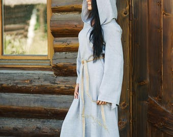 Linen Long Hooded Dress with belt, Linen Maxi Dress, Cotton dress, Long Linen Dress