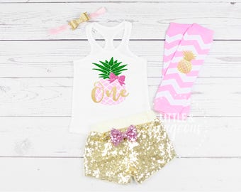 Girls Luau First Birthday Outfit, 1st Birthday Pineapple Outfit, First Birthday Pineapple Outfit, Pineapple Birthday, First Birthday Summer
