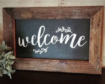 Welcome - Farmhouse Style Chalkboard Sign