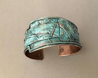 Painted turquoise cuff, folded metal, riveted layered copper bracelet