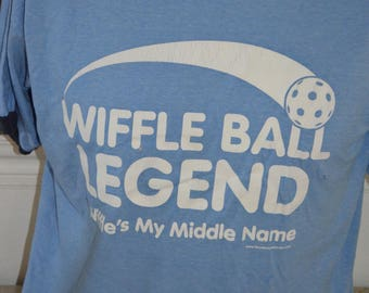 "Vintage Wiffle Ball Legend "" Wiffle's My Middle Name"" Graphic T-Shirt (Size: M)"