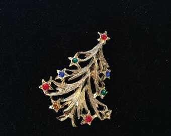 Vintage Gold Christmas Tree Brooch with Multi-Colored Rhinestones and Stars