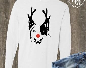 Heeler Christmas T-shirt | Blue Heeler Comfort Color Long Sleeve | Heeler Mom Shirt | Christmas Dog Shirt | Heeler Reindeer Shirt | Reindeer