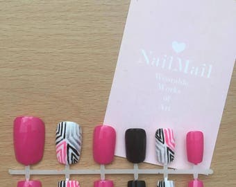 Pink/ Black/ White Hand Painted Funky Nail Set