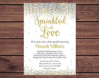 Sprinkled with Love Baby Sprinkle Invitations Girl Boy Gender Neutral, Baby Boy Baby Girl Confetti Sprinkle Printable Digital