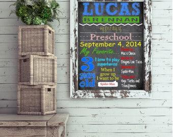 First Day of School, preschool, pre-k, kindergarten Chalkboard Style Customized, Personalized