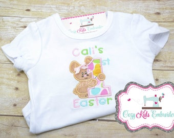 First Easter shirt, 1st Easter Bodysuit, Girl's easter shirt, Girls bunny shirt, bunny shirt, bunny applique, embroidery