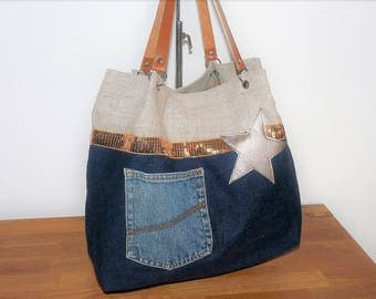 flax Twine/denim beige recycled band/blue glitter sequin gold/bronzed star camel leather handles