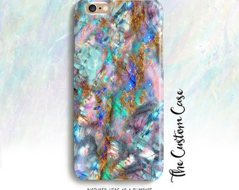 Opal Phone Case, Turquoise Pink and Turquoise Opal Stone Phone Case, Holographic Stone Phone Case, Iridescent Labradorite Gemstone