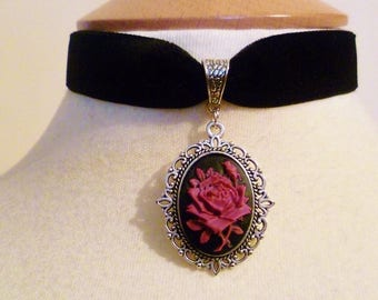 Pink Rose Cameo choker black velvet ribbon Pagan Choker Gothic Necklace Halloween Wedding Choker