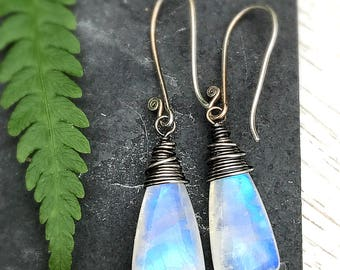 Moonstone BoHo Artisan Earrings / Oxidized Hand Polished Blue Fire Moonstone Earrings / Gemstone Briolette Wire Wrapped Earrings