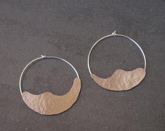 Organic hoops, silver earrings, copper earrings, moon earrings, freeform hoops, dangle earrings, gypsy earrings, valentine day gift