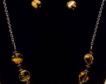 Handmade Beaded Necklace & Straight Earrings in Yellow and Black