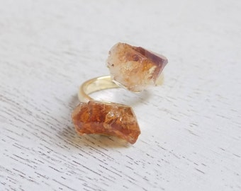 November Birthstone, Citrine Ring, Raw Citrine Ring, Citrine Crystal Ring, Gemstone Ring Small Stone Ring Yellow Stone Statement Ring G5-766