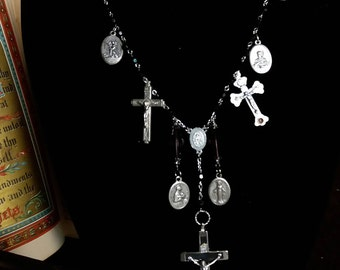Gothic Religious medal Statement Necklace