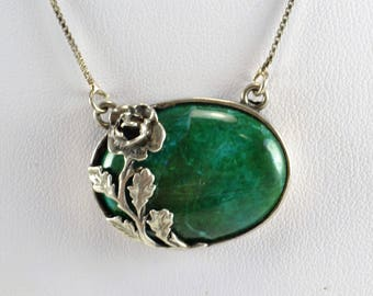 Eilat Stone Pendant Necklace Sterling Silver Rose Setting -  Chrysocolla Malachite Turquoise - Green Cabochon - Vintage Beauty