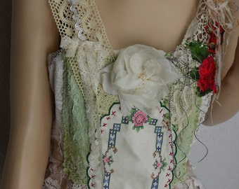 "Fairy Top, white lace and ecru ""Eléonore"", art to wear, Unique, feminine"