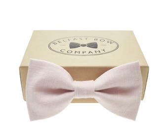 Irish Linen Bow Tie in Pale Pink - Adult  & Junior sizes available