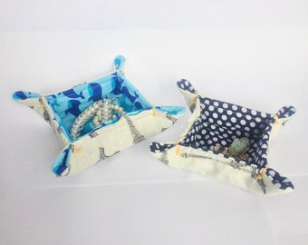Blue Fabric Tray | fabric catchall | trinket dish | ring dish | fabric basket | desk organizer | jewelry tray | catchall | bedside basket