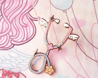 Blue Angelic Stethoscope Pin - Sweet Lolita Menhera Yumekawaii Nurse Doctor Medical Hospital Hard Enamel