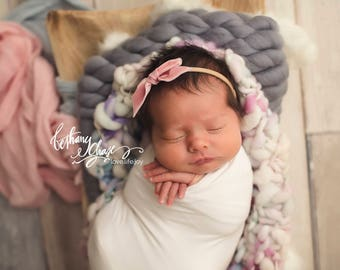 BLUSH VINTAGE VELVET Hand-tied Bow (Headband or Clip)- velvet bow headband; velvet bow; newborn headband; baby headband; toddler bow
