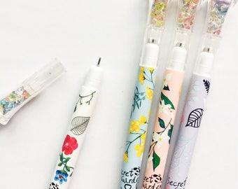 Flower Gem Cap Gel Pen • Planner Pens • Fine Tip Pens