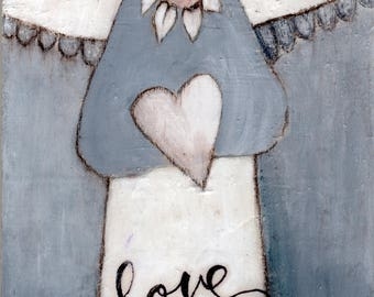 LOVE ANGEL - Inspiring Art- Giclee Print- Angel Painting - Personalize -  Michelle O'Connor Art