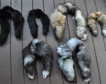 Choice between 2 tail & 3 tail   Humane REAL fox tails scarves.