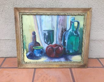 """Original Still Life Impressionist Painting on Canvas Mid Century Glass Objects Study Signed Louise on back Framed 20"""" x 24"""""""