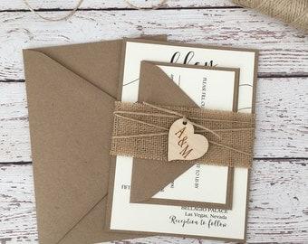 Rustic wedding invitation, burlap wedding invitation, country invitation, kraft invitation, rustic burlap invitation, wood invitation