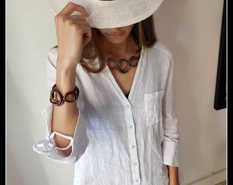 Bronze-coloured aluminium necklace-aluminium jewellery-gift idea, girlfriend, mom, teacher, professor-modern necklace, Made in Italy