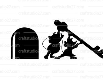 Digital file Disney Cinderella Mice Gus&Jaq with key and mousehole SVG for Silhouette Cameo Cricut Brother and print