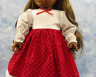 18 Inch Doll Clothes Dress Red, White Outfit for American Girl Doll